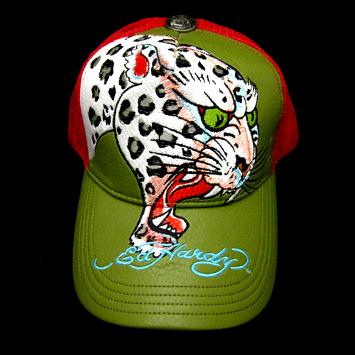 【Ed Hardy】エドハーディー<アウトレット>PANTHER HEAD LEATHER CAP