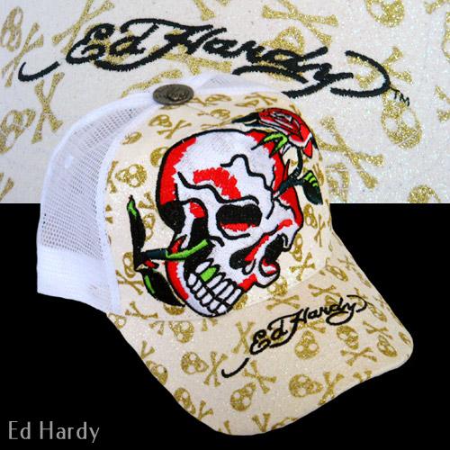 【Ed Hardy】エドハーディーRose SkullTatooホワイトメッシュキャップ(日本未発売モデル)