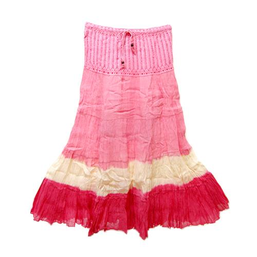 【セレクト】Tie-dyeグラデーションマキシ丈スカート:ピンク