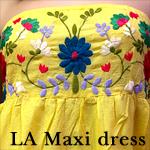 LA:Flower刺繍ベアコットンマキシワンピース
