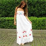 LA:Flower刺繍ベアコットンマキシワンピース(WH)