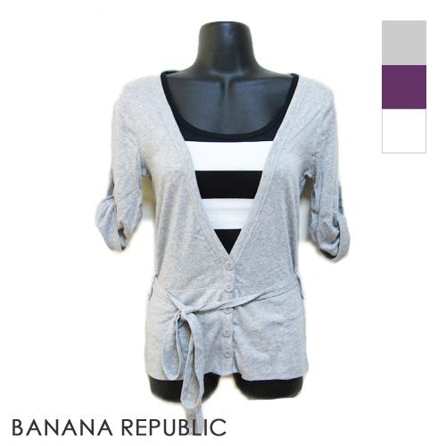 【インポートセレクト】BANANA REPUBLIC<OUTLET>ロールアップ袖Vネックカーディガン(3color)