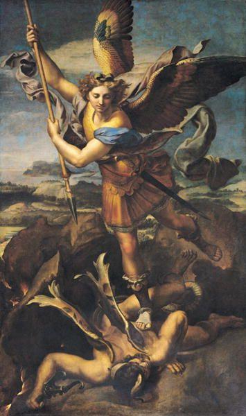天使の絵画悪鬼を退治する聖ミカエル