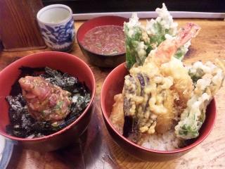 錦 鯵丼天丼セット