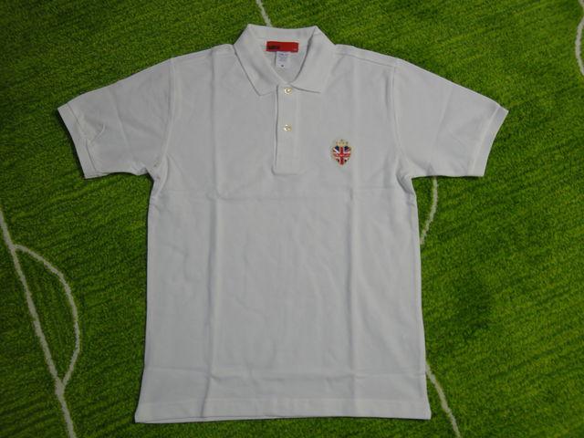 DUELO UNION JACK ロゴ刺繍 ポロシャツ 白 フロント.JPG