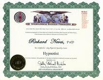 IHF国際催眠連盟認定証