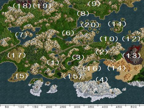 世界地図(地域番号付)