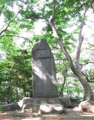 金環日食_東京8:32何気に撮った石碑にも大きな三日月木漏れ日