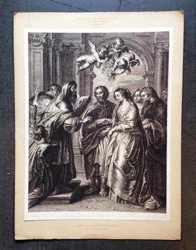 スヘルテ・ア・ボルスヴェルト、版画、エングレーヴィング、マリアの結婚、聖母の婚礼、銅版画、アンティーク