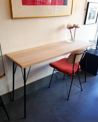 ナンセンスリメイク、ウェグナー、ナラ無垢材、北欧、鉄脚テーブル