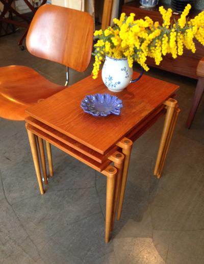 スタッキングテーブル、ネストテーブル、チーク、コーヒーテーブル、北欧