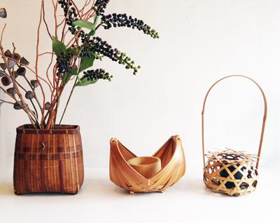 竹籠、花入れ、竹工芸、アンティーク、魚籠、茶道具