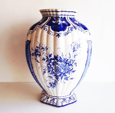 イタリア、デルフト、花器、フラワーベース、クラシック、染付け