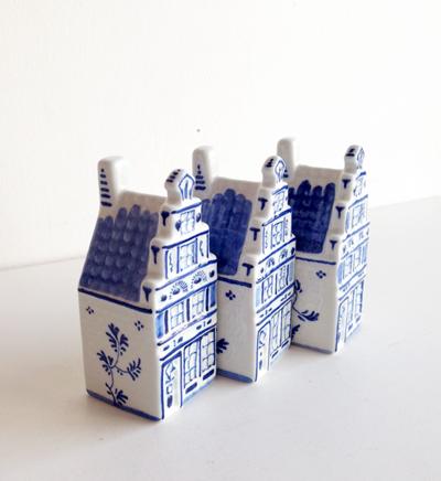 デルフト、フィギュリン、ハウス、家、オランダ陶器