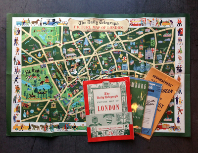 ヴィンテージ、地図、マップ、観光パンフレット、ロンドン、パリ