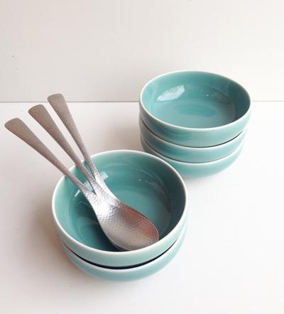白山陶器、青磁小鉢、鎚目スプーン