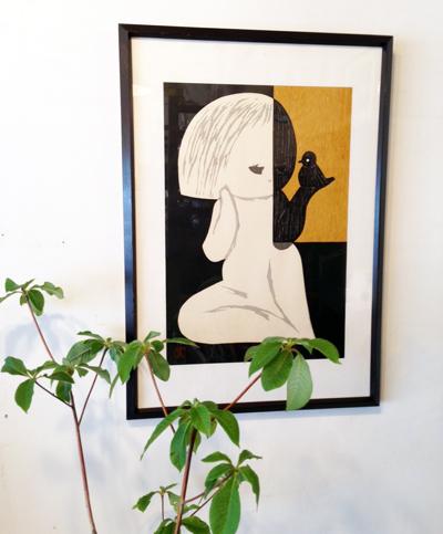 河野薫、木版画、小鳥A、1950年