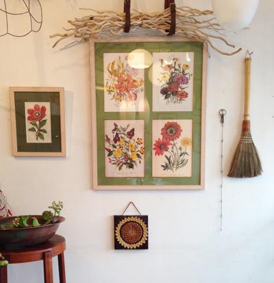 ボタニカルアート、植物図鑑、陶板、北欧、ウォールデコレーション、ヴィンテージ