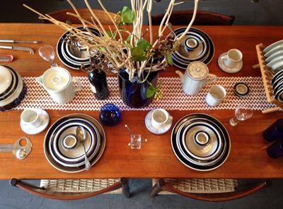 テーブルコーディネート、北欧、アラビア、アネモネ、マリンスタイル、ブルー&ホワイト