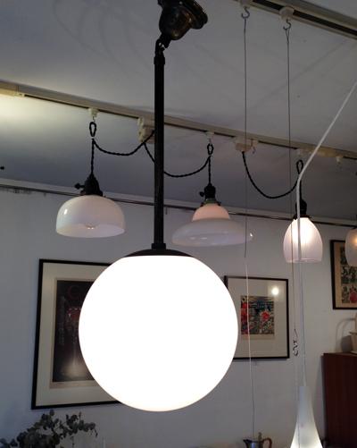 ペンダントランプ、アンティーク、戦前ガラス、洋館、真鍮、照明、モダン、アールデコ