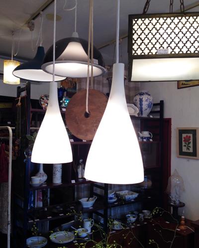 ペンダントランプ、アンティーク、戦前ガラス、洋館、真鍮、照明、モダン、アールデコ、乳白ガラス