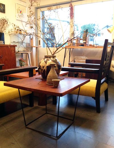 けやき一枚板、無垢板、欅、リメイク、テーブル、鉄脚、サイドテーブル、コーヒーテーブル