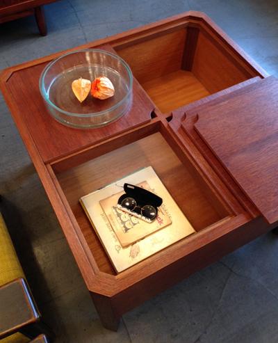チーク、コーヒーテーブル、収納ボックス、マガジン収納、北欧、ヴィンテージ、ソーイングテーブル