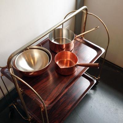 キッチンワゴン、フォールディングワゴン、モービル銅片手鍋、フランス、銅鍋、ボウル、製菓道具、mauviel、copper、ヴィンテージ