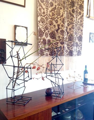 鉄オブジェ、彫刻、アート、インテリアデコール、デコレーション、フラワーベース、金工、メタルアート