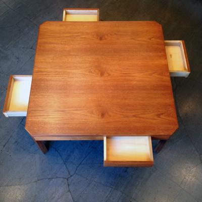 チーク、ローテーブル、座卓、北欧、モダンデザイン、ヴィンテージ、引き出し