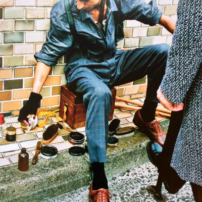 男の靴雑誌ラスト、東京カレンダー、木箱、ツールボックス、魚篭、ヴィンテージ、古道具