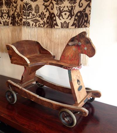 ディスプレイ、木馬、オモチャ、アンティーク、木製