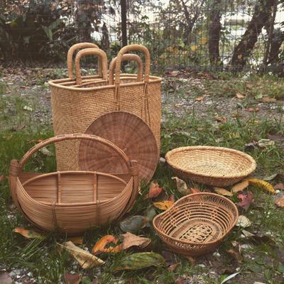 ヴィンテージ、バスケット、竹籠、かごバッグ、クロワッサン、ハンドクラフト、竹ざる、竹細工、竹工芸