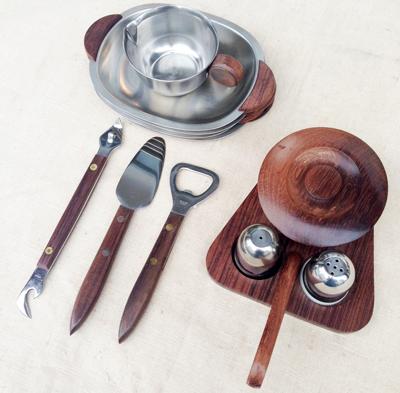 キッチン雑貨、道具、ツール、北欧ヴィンテージ、ステンレス製、チーク、クリュエット、オープナー、ソルトペッパー