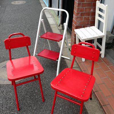 椅子、ガーデンチェア、梯子、脚立、ステップ、ヴィンテージ