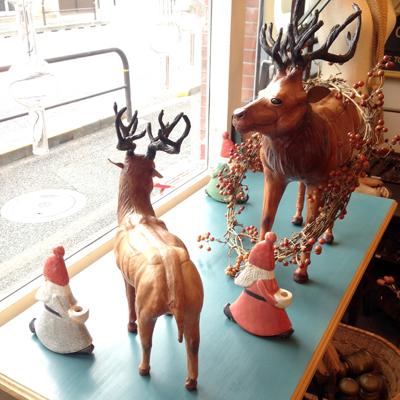 クリスマスディスプレイ、革細工、フィギア、トナカイ、サンタ、リサラーソン、北欧、ヴィンテージ、lisalarson、santa、reindeer