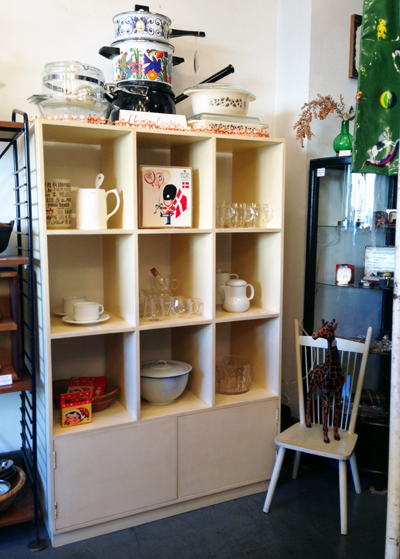 ヴィンテージ、シェルフ、白塗り、棚、オープンラック、商店什器