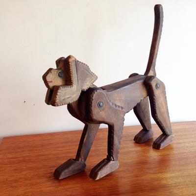 猿、さる、干支もの、木のおもちゃ、アンティーク、フィギア