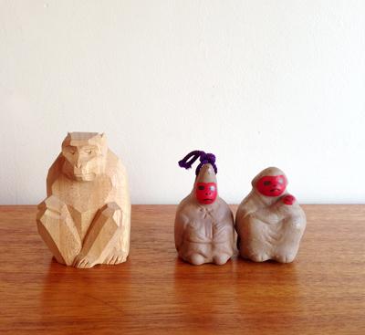 猿、さる、置物、干支、土鈴、木彫り、正月飾り