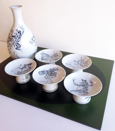 磁器、鳥獣戯画、染付け、酒器揃、京焼、平安瑞昭窯、徳利、盃