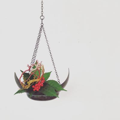 銅器、吊花器、花器、お正月花、伝統工芸、ヴィンテージ、古道具