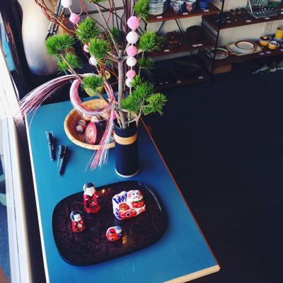 お正月花、お正月飾り、ディスプレイ、和のしつらえ、年の瀬