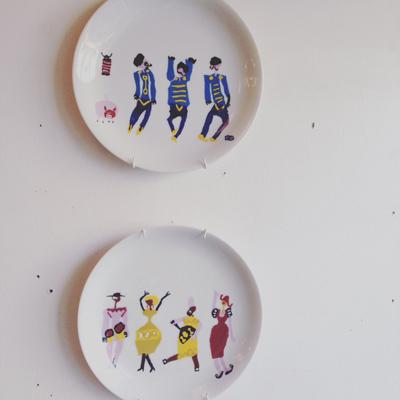 クロード岡本、伊勢丹、コラボ、絵皿、ウォールプレート、1960年代
