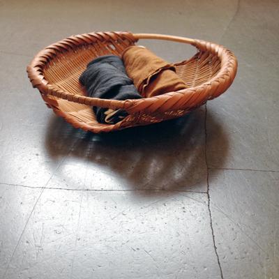 竹かご、四つ目籠、背負い籠、ヴィンテージ、ハンドクラフト、鉢カバー