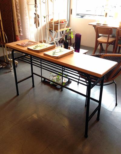 ナンセンスリメイク、鉄脚テーブル、リメイク、テーブル、オーク、ナラ、無垢天板