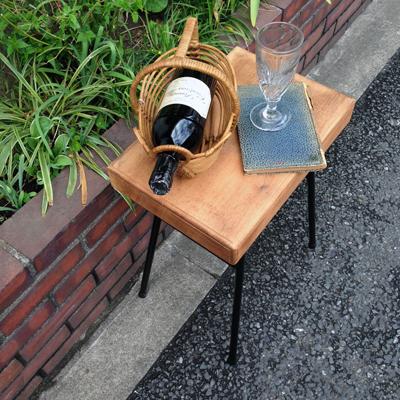 リメイクテーブル、ナンセンス、無垢材、鉄脚、サイドテーブル、ヴィンテージ