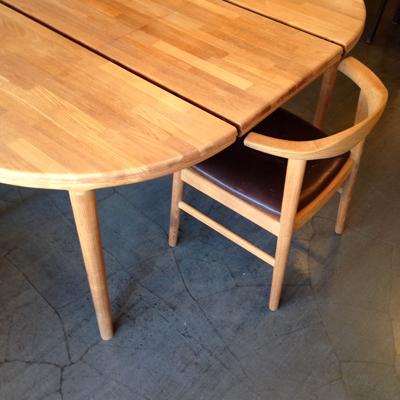 チークダイニングテーブル、エクステンションテーブル、北欧、ヴィンテージ、チーク、ラウンド