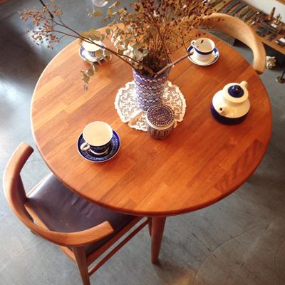 ヴィンテージ、チークダイニングテーブル、エクステンションテーブル、北欧、チーク無垢、ラウンド