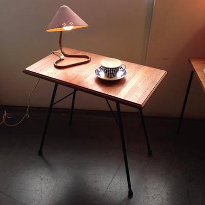 リメイクテーブル、チークウッド、北欧ヴィンテージ、鉄脚テーブル