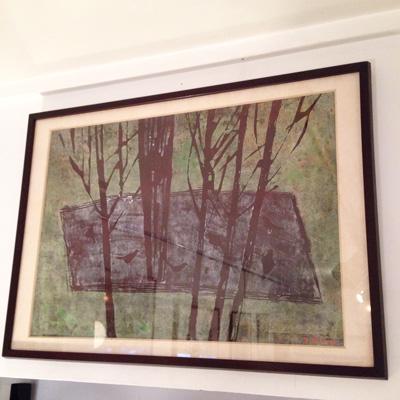 小野忠重による木版画『鳥』。